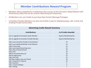 Member Contributions Reward Program
