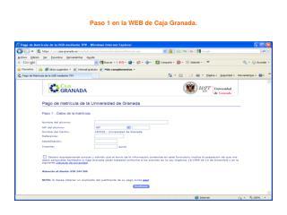 Paso 1 en la WEB de Caja Granada.