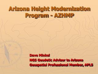 Arizona Height Modernization Program - AZHMP