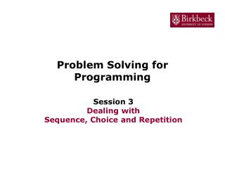 Problem Solving for Programming