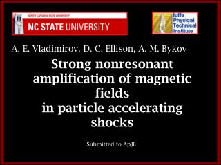 Strong nonresonant amplification of magnetic fields  in particle accelerating shocks
