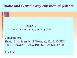 Radio and Gamma-ray emission of pulsars