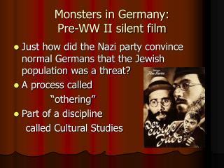 Monsters in Germany: Pre-WW II silent film