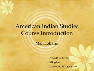 American Indian Studies Course Introduction
