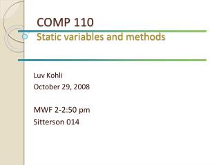 COMP 110 Static variables and methods