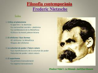 Filosofia contemporània Frederic Nietzsche