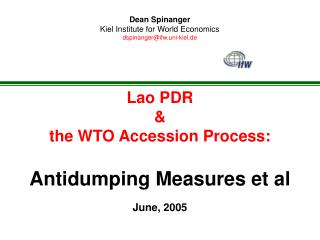 Lao PDR   the WTO Accession Process:  Antidumping Measures et al   June, 2005