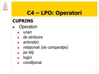 C4 – LPO: Operatori