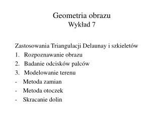 Geometria obrazu Wykład 7