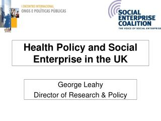 Health Policy and Social Enterprise in the UK