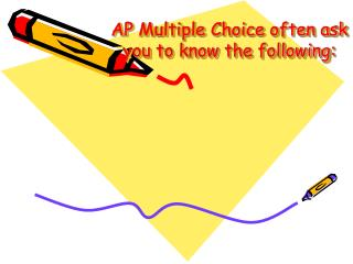 AP Multiple Choice often ask you to know the following: