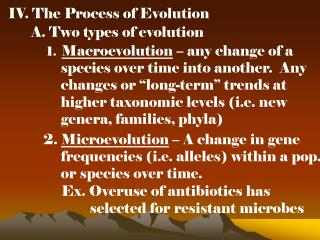 IV. The Process of Evolution