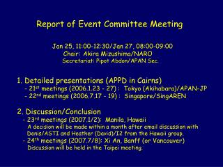 Report of Event Committee Meeting