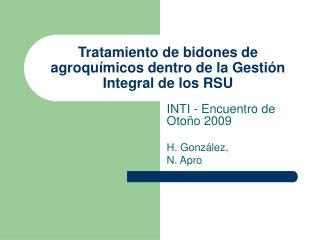 Tratamiento de bidones de agroquímicos dentro de la Gestión Integral de los RSU