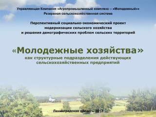 « Молодежные хозяйства» как структурные подразделения действующих сельскохозяйственных предприятий