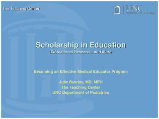 Scholarship in Education Educational Research, and More