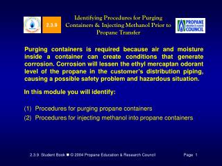 Identifying Procedures for Purging Containers  Injecting Methanol Prior to Propane Transfer