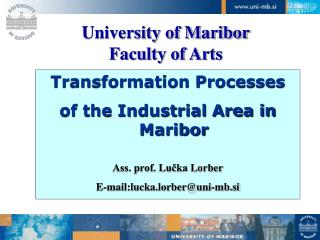 University of Maribor Faculty of Arts