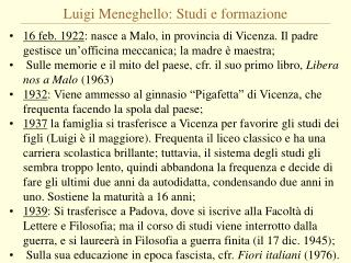 Luigi Meneghello: Studi e formazione