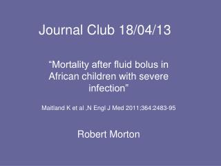 Journal Club 18/04/13