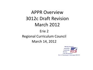 APPR Overview 3012c Draft Revision March 2012