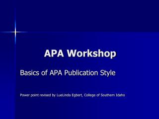 APA Workshop