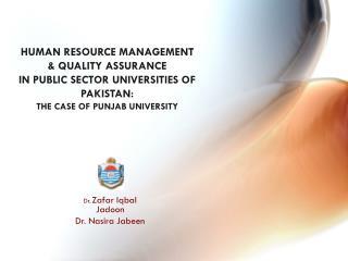 Dr. Zafar Iqbal  Jadoon Dr. Nasira Jabeen
