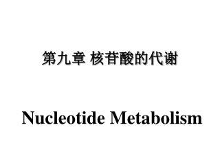 第九章 核苷酸的代谢 Nucleotide Metabolism