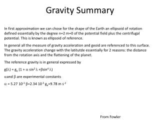 Gravity Summary