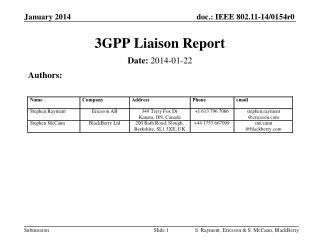 3GPP Liaison Report
