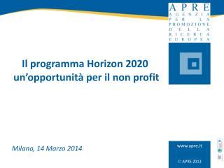 Il programma Horizon 2020  un'opportunità per il non profit
