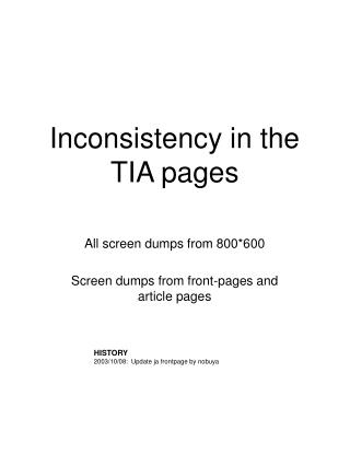 Inconsistency in the TIA pages