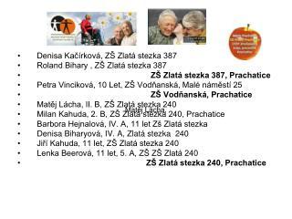 Denisa Kačírková, ZŠ Zlatá stezka 387 Roland Bihary , ZŠ Zlatá stezka 387