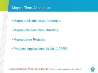Mopra Time Allocation
