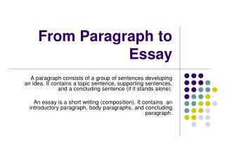 From Paragraph to Essay
