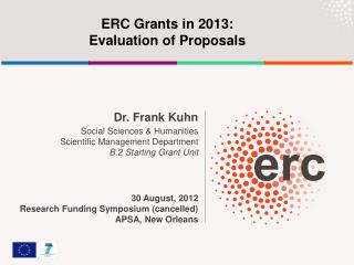 ERC Grants in 2013:  Evaluation of Proposals