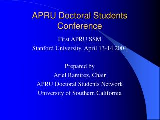 APRU Doctoral Students Conference