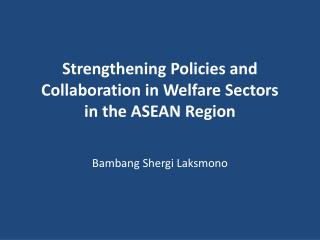 Strengthening Policies and Collaboration in Welfare Sectors  in the ASEAN Region