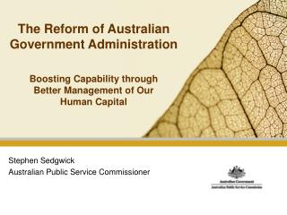 The Reform of Australian Government Administration