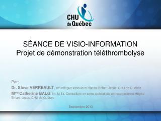 SÉANCE DE VISIO-INFORMATION Projet de démonstration téléthrombolyse