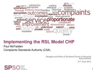 Glasgow and West of Scotland Forum of Housing Associations 21 st  June 2012