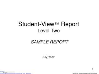 Student-View ™  Report Level Two