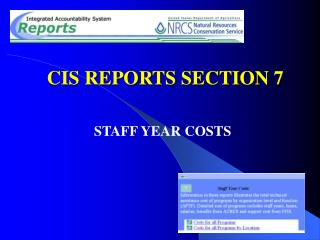 CIS REPORTS SECTION 7