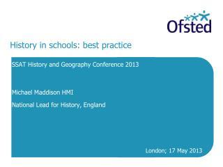 History in schools: best practice
