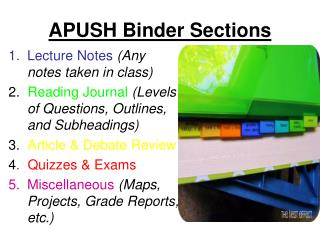 APUSH Binder Sections