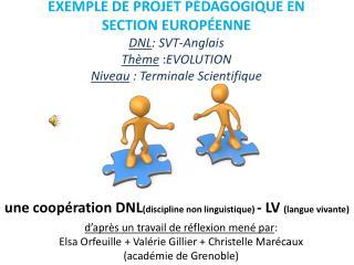 une coop�ration DNL (discipline non linguistique)  - LV  (langue vivante)