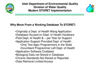 Utah Department of Environmental Quality Division of Water Quality Modern STORET Implementation