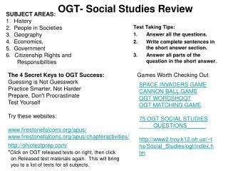 OGT- Social Studies Review
