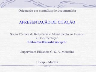 Orientação em normalização documentária APRESENTAÇÃO DE CITAÇÃO