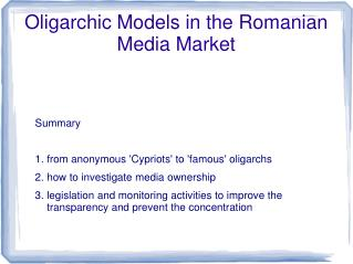 Oligarchic Models in the Romanian Media Market